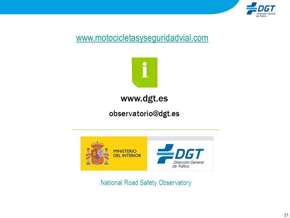 21 www.dgt.es observatorio@dgt.es National Road Safety Observatory www.motocicletasyseguridadvial.com