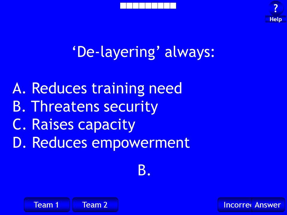 Team 1Team 2IncorrectAnswer ? ? Help B. De-layering always: A. Reduces training need B. Threatens security C. Raises capacity D. Reduces empowerment