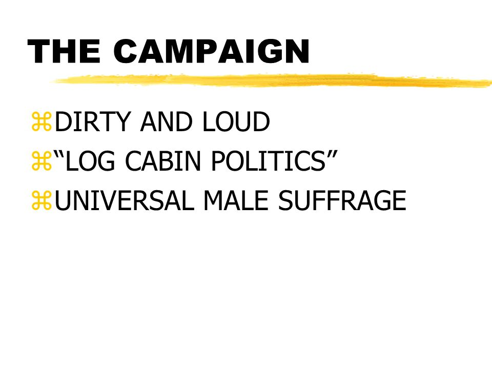 THE CAMPAIGN zDIRTY AND LOUD zLOG CABIN POLITICS zUNIVERSAL MALE SUFFRAGE