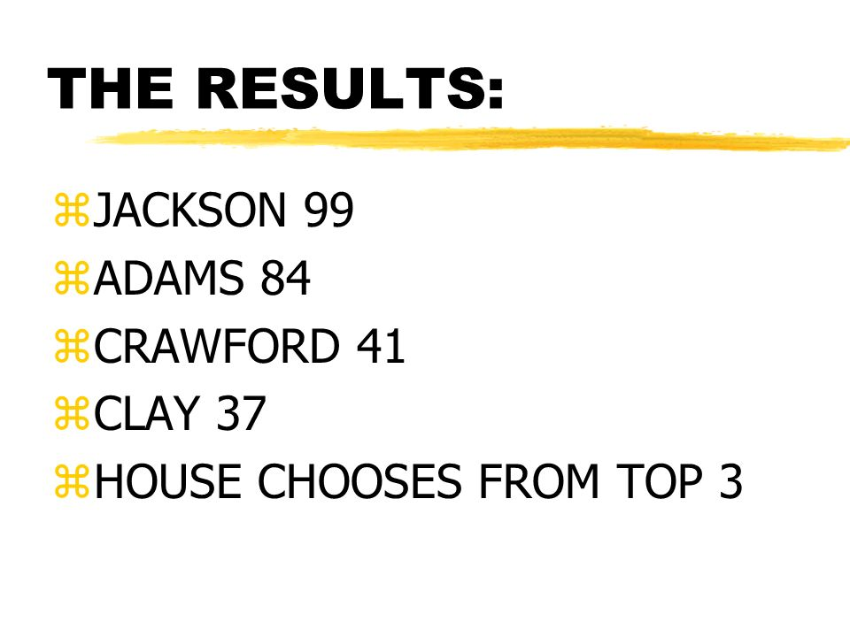 THE RESULTS: zJACKSON 99 zADAMS 84 zCRAWFORD 41 zCLAY 37 zHOUSE CHOOSES FROM TOP 3