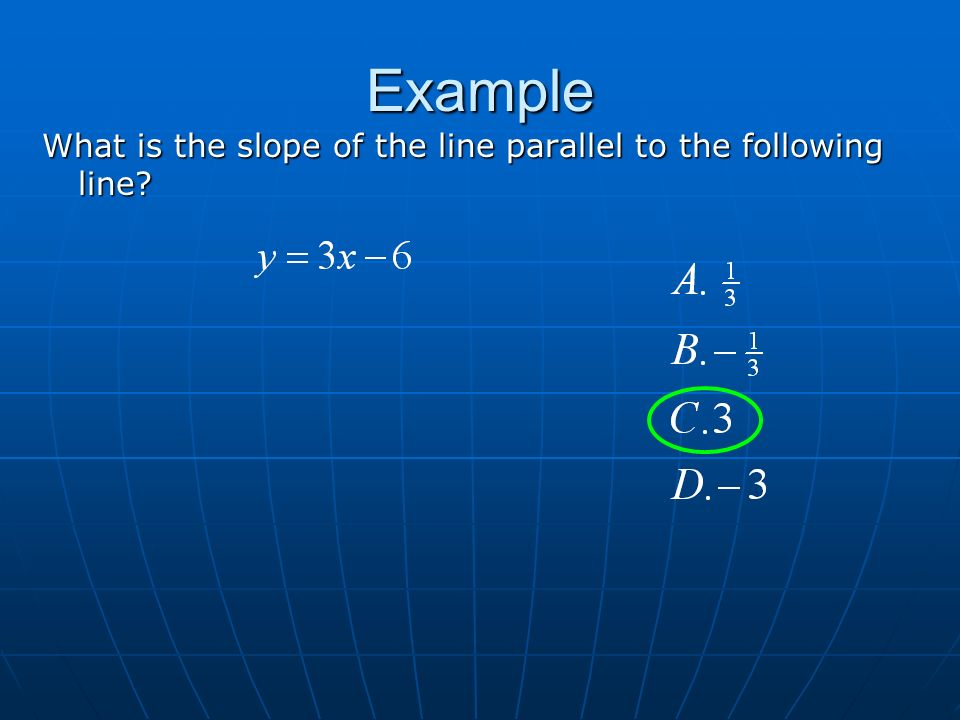 Example What is the slope of the line parallel to the following line Vertex Axis of symmetry