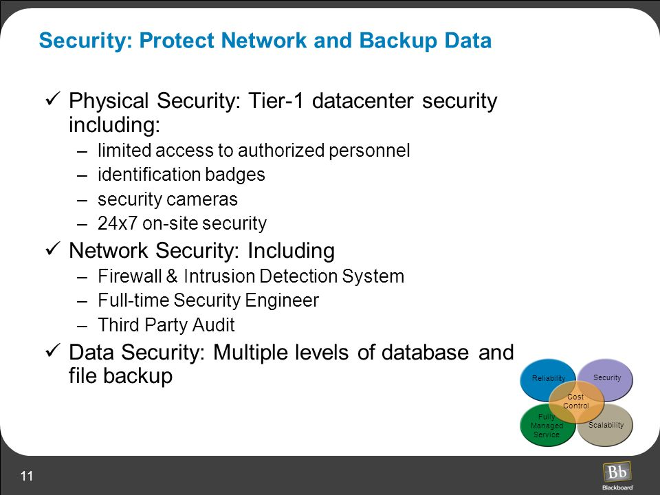 11 Security: Protect Network and Backup Data Physical Security: Tier-1 datacenter security including: –limited access to authorized personnel –identif