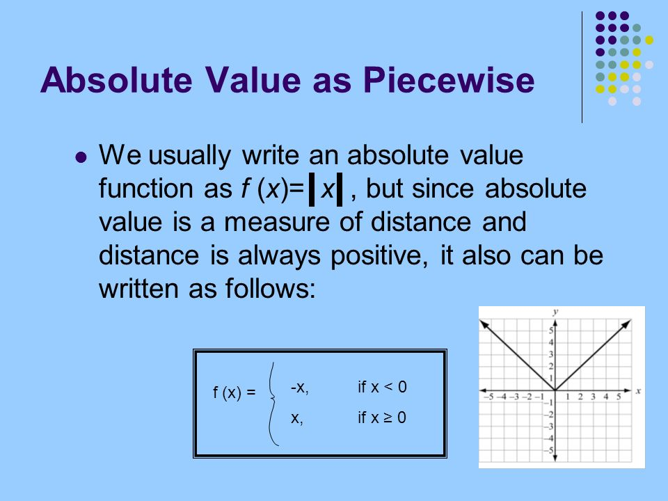 Absolute Value as Piecewise We usually write an absolute value function as f (x)= x, but since absolute value is a measure of distance and distance is always positive, it also can be written as follows: f (x) = -x,if x < 0 x, if x 0