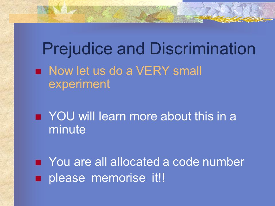 Prejudice and Discrimination Now let us do a VERY small experiment YOU will learn more about this in a minute You are all allocated a code number plea