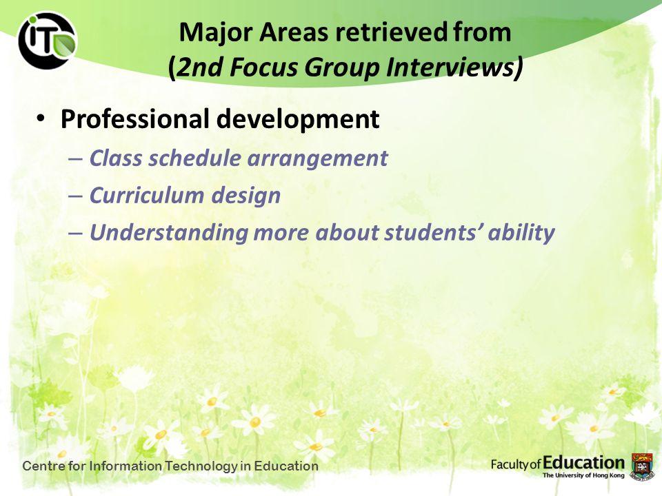 Major Areas retrieved from (2nd Focus Group Interviews) Professional development – Class schedule arrangement – Curriculum design – Understanding more