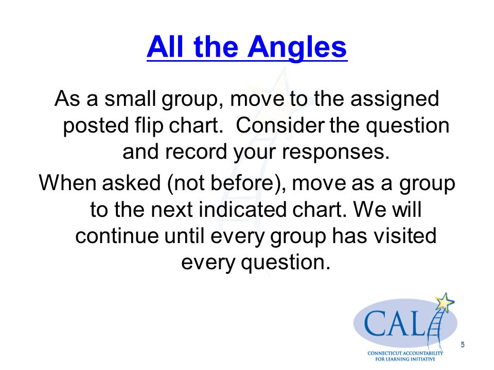 All the Angles As a small group, move to the assigned posted flip chart.