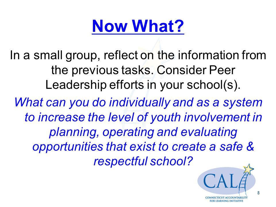 Now What. In a small group, reflect on the information from the previous tasks.