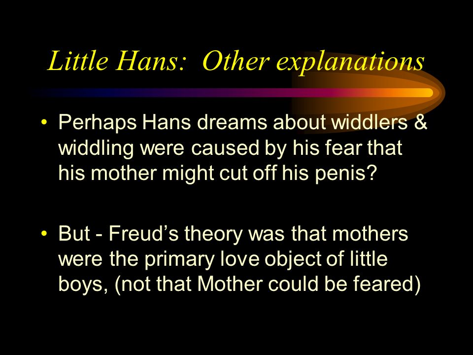 Little Hans: Criticisms AND unlike adult case studies No searching through past memory Hans father simply asked Hans!