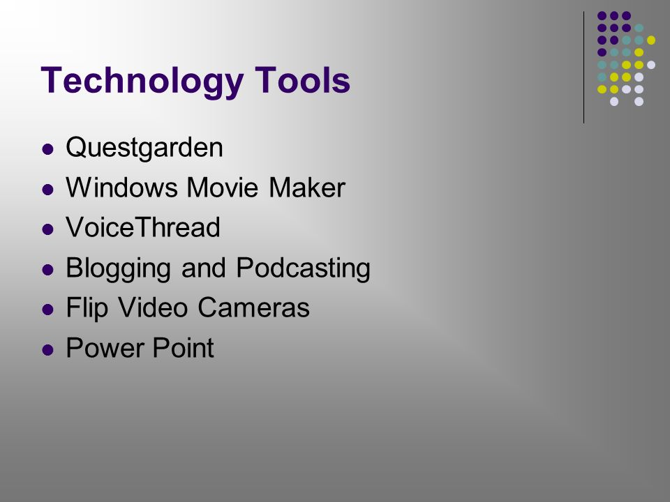 Technology Tools Questgarden Windows Movie Maker VoiceThread Blogging and Podcasting Flip Video Cameras Power Point
