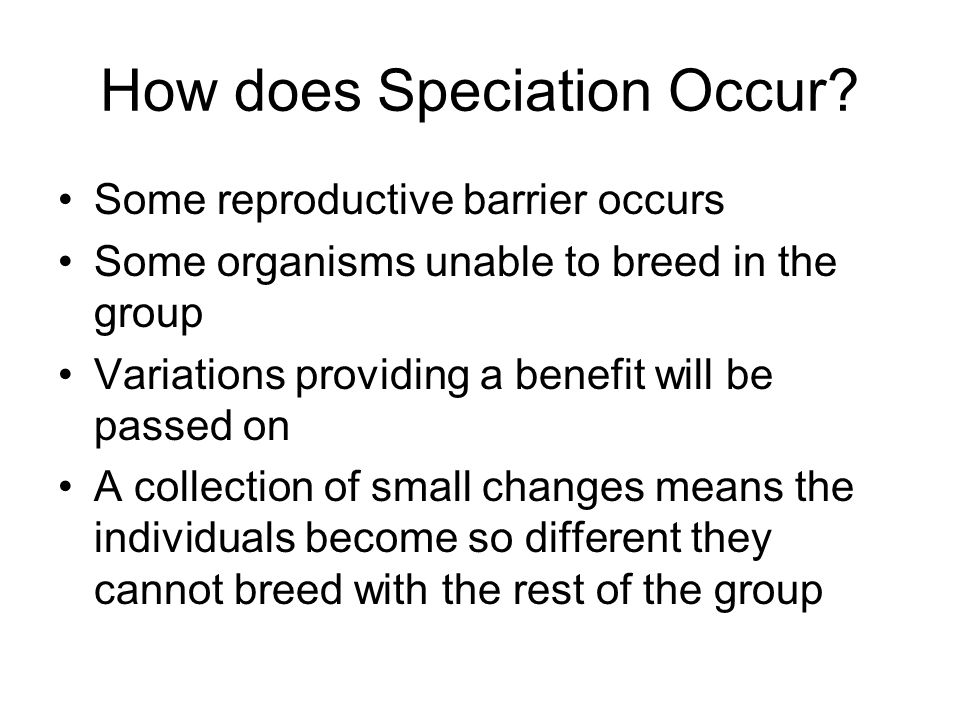 How does Speciation Occur? Some reproductive barrier occurs Some organisms unable to breed in the group Variations providing a benefit will be passed