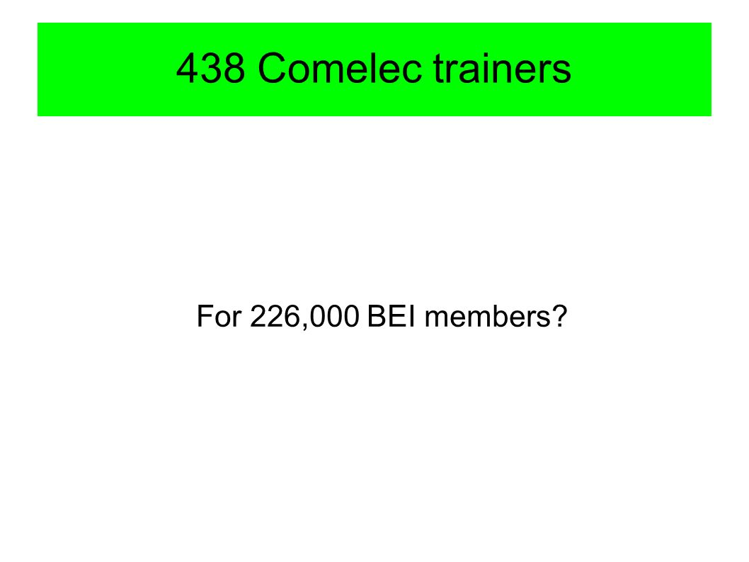 438 Comelec trainers For 226,000 BEI members?