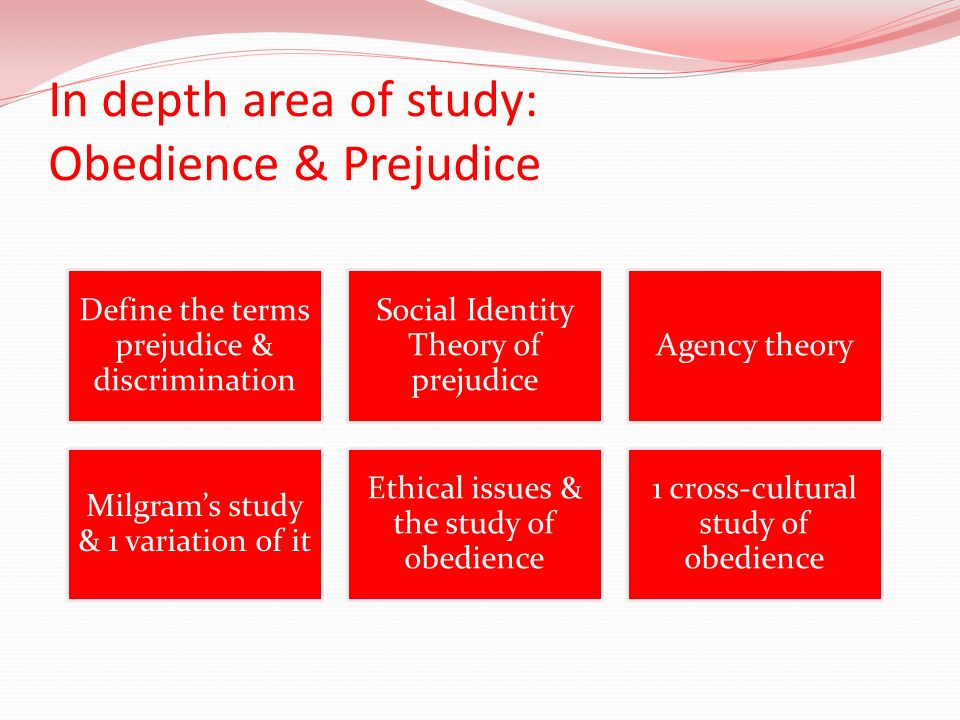 In depth area of study: Obedience & Prejudice Define the terms prejudice & discrimination Social Identity Theory of prejudice Agency theory Milgrams s