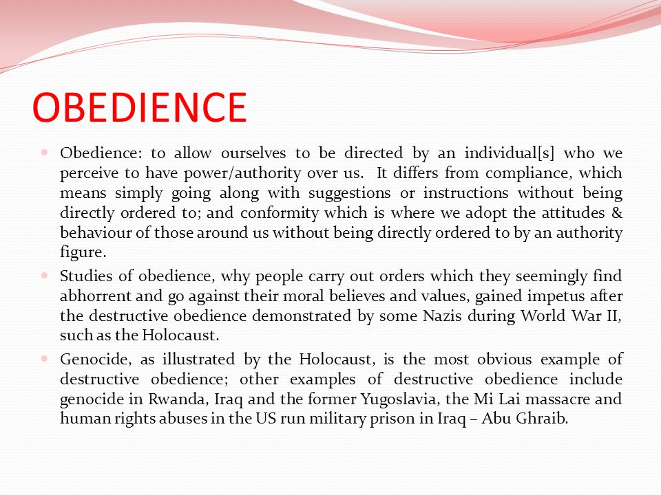 Milgrams classic study of obedience (1963) Name: Milgrams study of obedience Aim: to investigate how obedient people would be in a situation where following orders would mean breaking participants moral codes & harming another person: to test the hypothesis that the Germans were different.