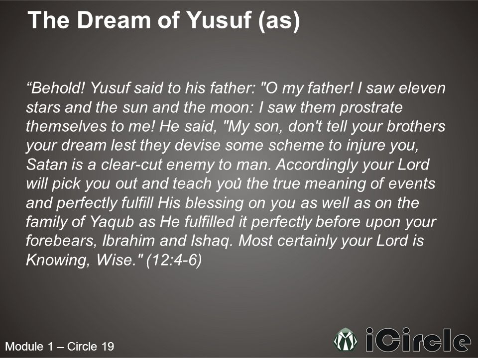 The Dream of Yusuf (as) Behold. Yusuf said to his father: O my father.