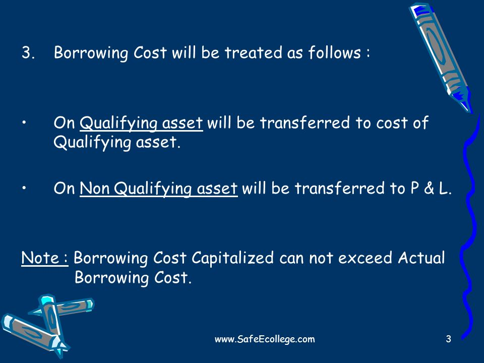 www.SafeEcollege.com3 3.Borrowing Cost will be treated as follows : On Qualifying asset will be transferred to cost of Qualifying asset. On Non Qualif