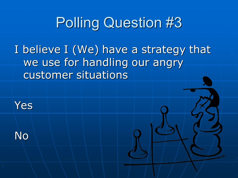 Polling Question #3 I believe I (We) have a strategy that we use for handling our angry customer situations YesNo