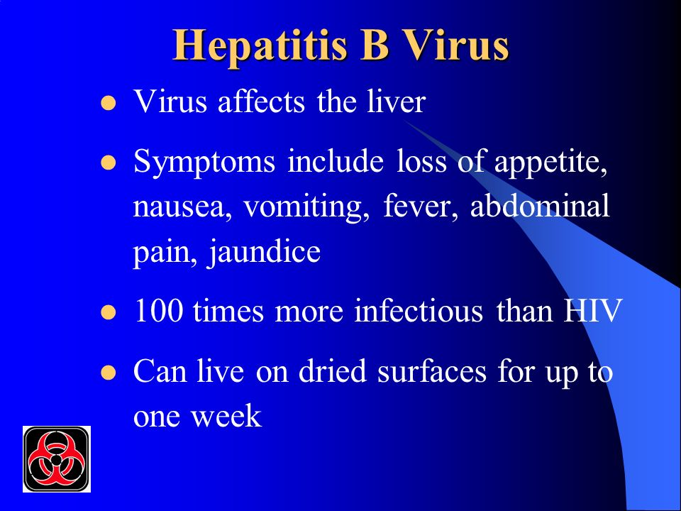 Hepatitis B Virus (cont.) 6-30% chance of infection from a puncture wound (contaminated needle) Up to 30% of infected individuals can become carriers without having symptoms Vaccine preventable