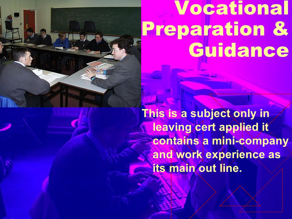 Vocational Preparation & Guidance This is a subject only in leaving cert applied it contains a mini-company and work experience as its main out line.