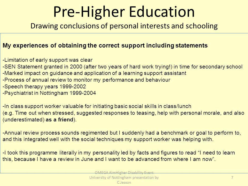 My experiences of obtaining the correct support including statements -Limitation of early support was clear -SEN Statement granted in 2000 (after two