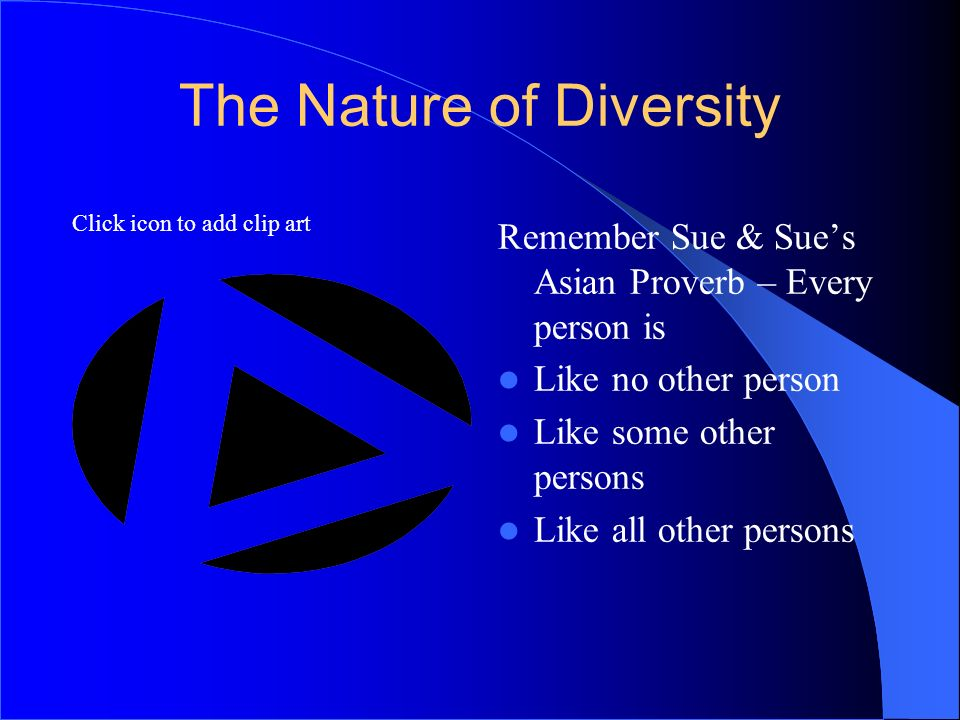 Click icon to add clip art The Nature of Diversity Remember Sue & Sues Asian Proverb – Every person is Like no other person Like some other persons Li