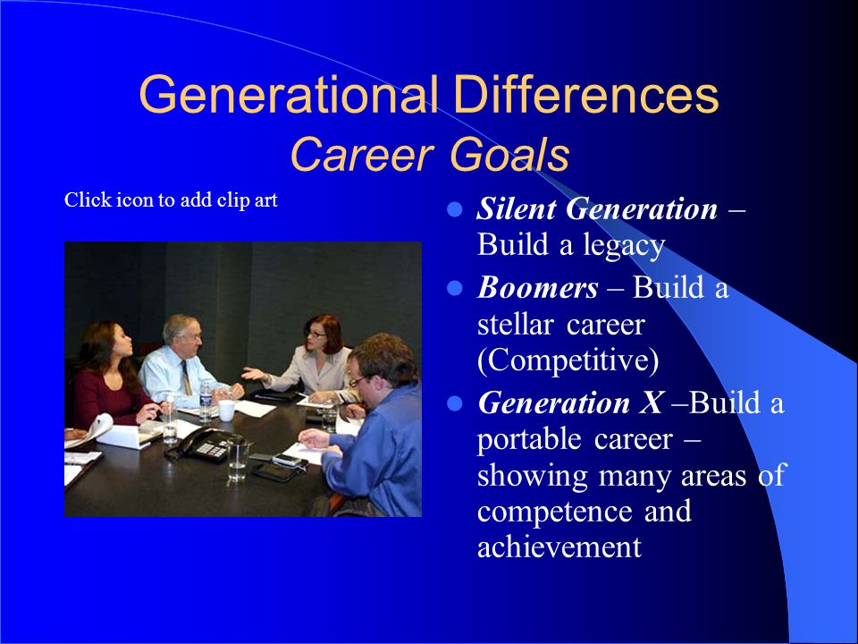 Click icon to add clip art Generational Differences Career Goals Silent Generation – Build a legacy Boomers – Build a stellar career (Competitive) Gen
