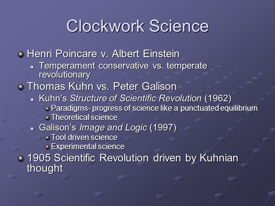 Clockwork Science Henri Poincare v.Albert Einstein Temperament conservative vs.