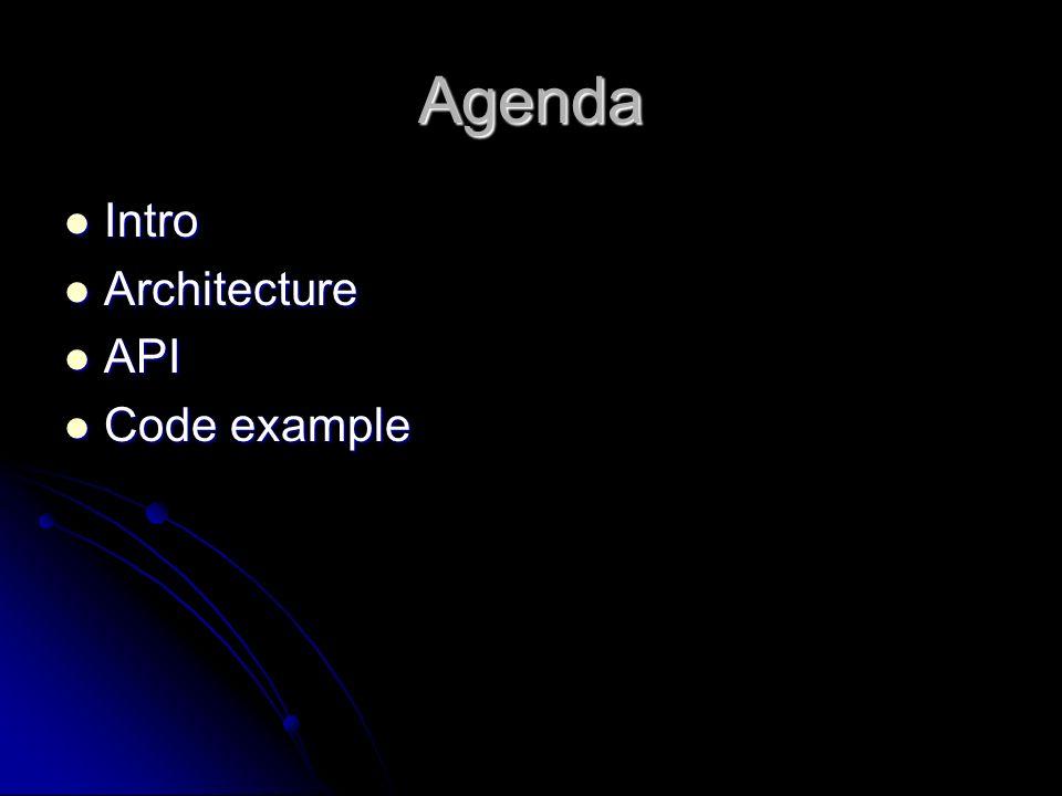 Agenda Intro Intro Architecture Architecture API API Code example Code example