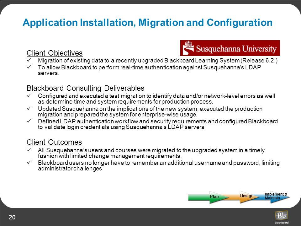 20 Application Installation, Migration and Configuration Client Objectives Migration of existing data to a recently upgraded Blackboard Learning Syste