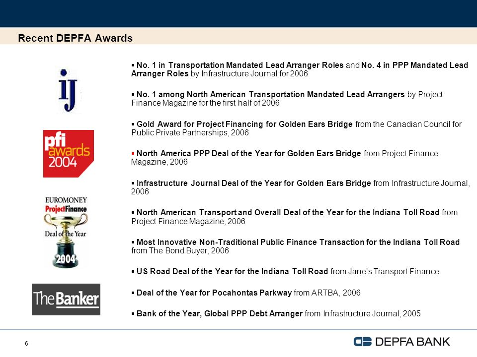 6 Recent DEPFA Awards No. 1 in Transportation Mandated Lead Arranger Roles and No.