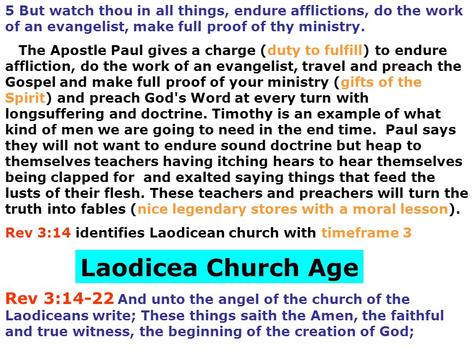 Rev 3:14 identifies Laodicean church with timeframe 3 Laodicea Church Age Rev 3:14-22 And unto the angel of the church of the Laodiceans write; These