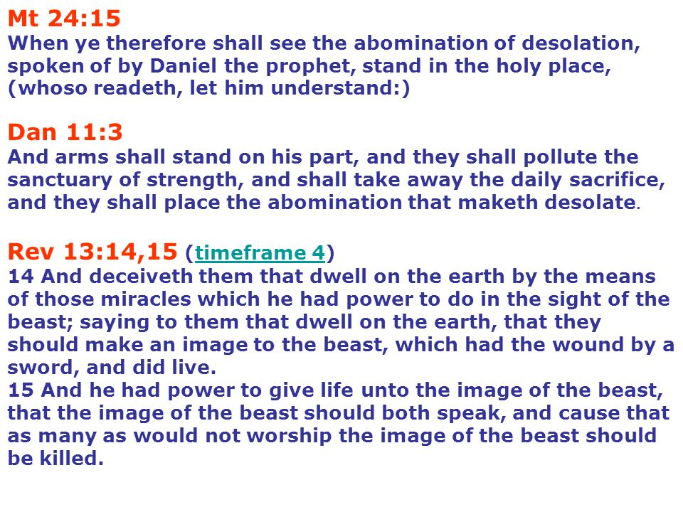 Mt 24:15 When ye therefore shall see the abomination of desolation, spoken of by Daniel the prophet, stand in the holy place, (whoso readeth, let him
