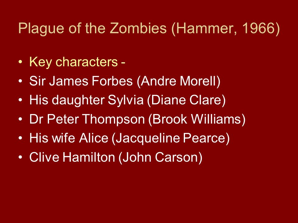 Plague of the Zombies (Hammer, 1966) Key characters - Sir James Forbes (Andre Morell) His daughter Sylvia (Diane Clare) Dr Peter Thompson (Brook Williams) His wife Alice (Jacqueline Pearce) Clive Hamilton (John Carson)