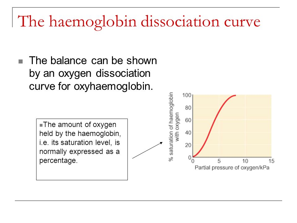 The haemoglobin dissociation curve The balance can be shown by an oxygen dissociation curve for oxyhaemoglobin. The amount of oxygen held by the haemo