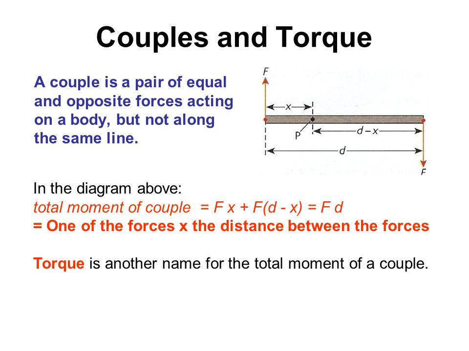 Couples and Torque A couple is a pair of equal and opposite forces acting on a body, but not along the same line. In the diagram above: total moment o