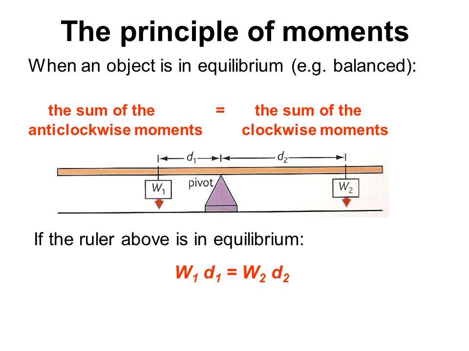 The principle of moments When an object is in equilibrium (e.g. balanced): the sum of the = the sum of the anticlockwise moments clockwise moments If
