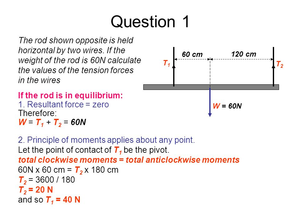 Question 1 If the rod is in equilibrium: 1. Resultant force = zero Therefore: W = T 1 + T 2 = 60N W = 60N T2T2 T1T1 60 cm 120 cm 2. Principle of momen