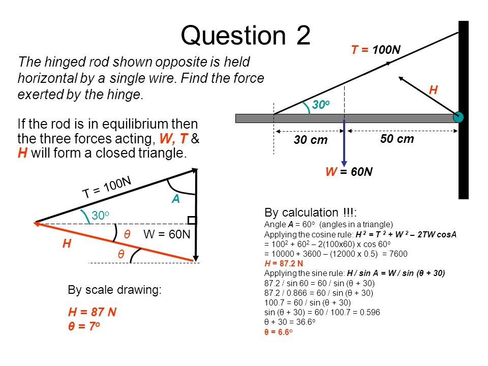 Question 2 W = 60N H T = 100N 30 cm 50 cm 30 o If the rod is in equilibrium then the three forces acting, W, T & H will form a closed triangle. By cal