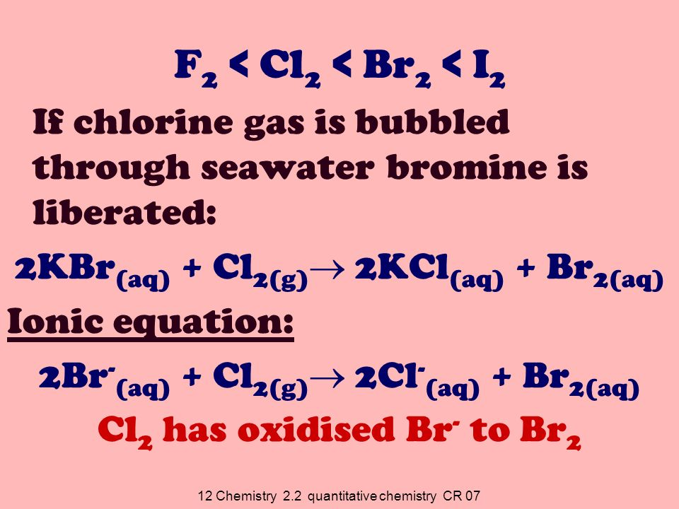 12 Chemistry 2.2 quantitative chemistry CR 07 F 2 < Cl 2 < Br 2 < I 2 If chlorine gas is bubbled through seawater bromine is liberated: 2KBr (aq) + Cl 2(g) 2KCl (aq) + Br 2(aq) Ionic equation: 2Br - (aq) + Cl 2(g) 2Cl - (aq) + Br 2(aq) Cl 2 has oxidised Br - to Br 2
