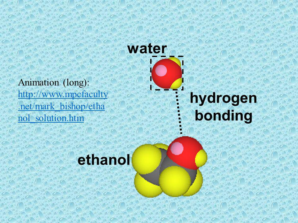 water ethanol hydrogen bonding Animation (long): http://www.mpcfaculty.net/mark_bishop/etha nol_solution.htm http://www.mpcfaculty.net/mark_bishop/eth