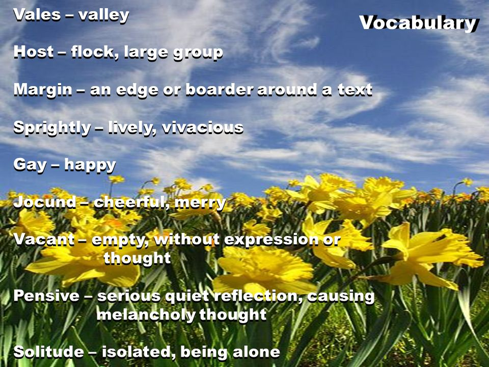 Vales – valley Host – flock, large group Margin – an edge or boarder around a text Sprightly – lively, vivacious Gay – happy Jocund – cheerful, merry
