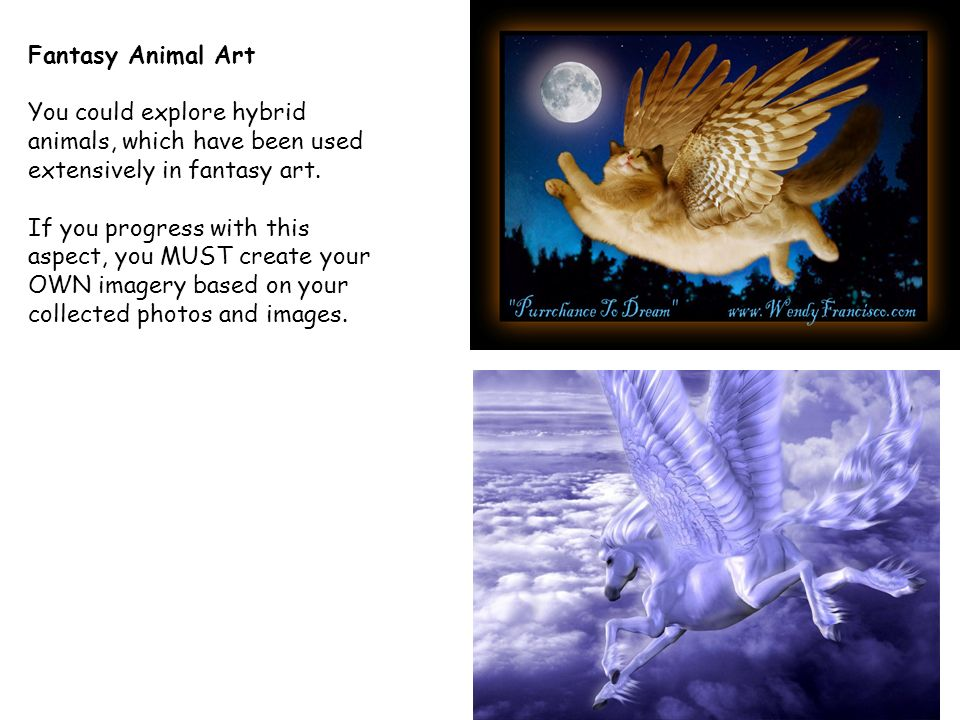 Fantasy Animal Art You could explore hybrid animals, which have been used extensively in fantasy art.