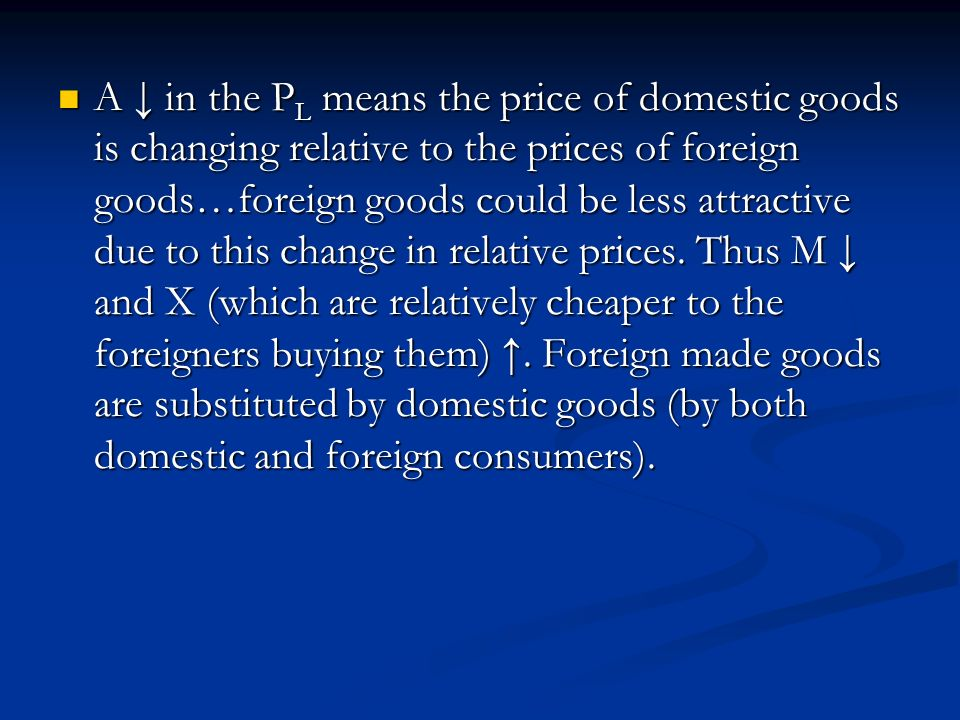 A in the P L means the price of domestic goods is changing relative to the prices of foreign goods…foreign goods could be less attractive due to this