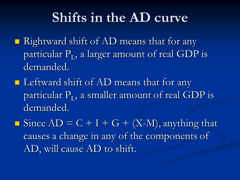 Shifts in the AD curve Rightward shift of AD means that for any particular P L, a larger amount of real GDP is demanded. Rightward shift of AD means t