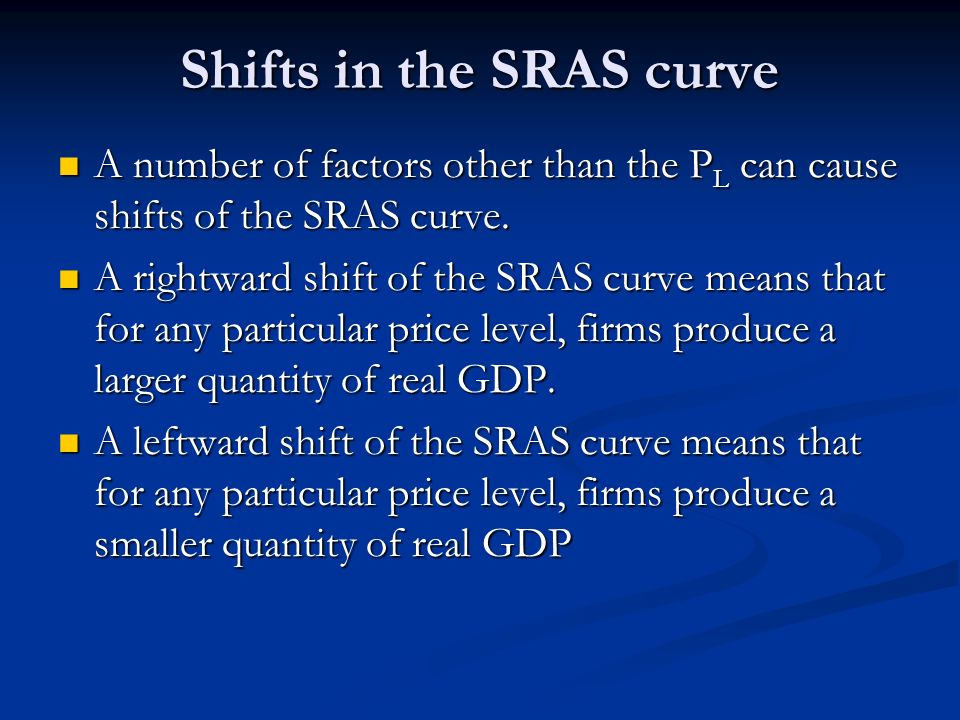 Shifts in the SRAS curve A number of factors other than the P L can cause shifts of the SRAS curve. A number of factors other than the P L can cause s