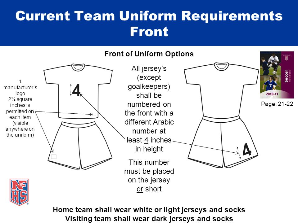 Current Team Uniform Requirements Front Front of Uniform Options 1 manufacturers logo 2¼ square inches is permitted on each item (visible anywhere on the uniform) Home team shall wear white or light jerseys and socks Visiting team shall wear dark jerseys and socks All jerseys (except goalkeepers) shall be numbered on the front with a different Arabic number at least 4 inches in height This number must be placed on the jersey or short Page: 21-22