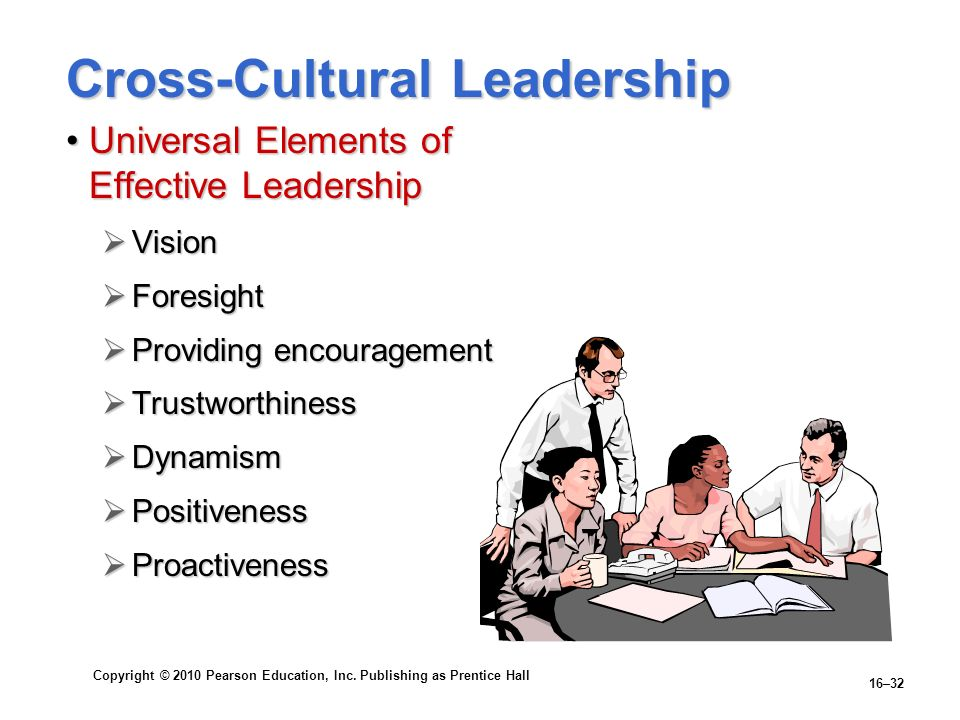 Copyright © 2010 Pearson Education, Inc. Publishing as Prentice Hall 16–32 Cross-Cultural Leadership Universal Elements of Effective LeadershipUnivers