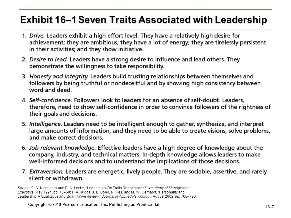 Copyright © 2010 Pearson Education, Inc. Publishing as Prentice Hall 16–7 Exhibit 16–1Seven Traits Associated with Leadership Source: S. A. Kirkpatric