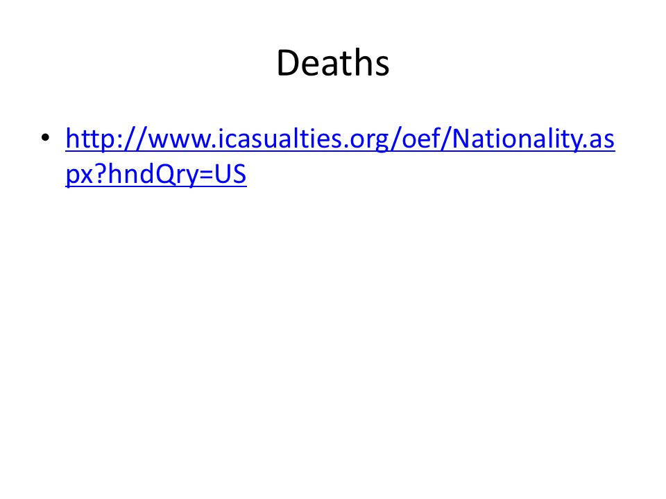 Deaths http://www.icasualties.org/oef/Nationality.as px hndQry=US http://www.icasualties.org/oef/Nationality.as px hndQry=US
