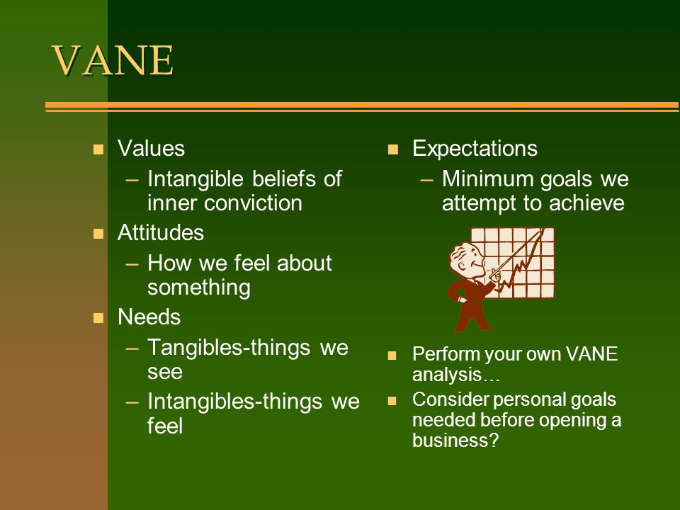 VANE VANE n Values –Intangible beliefs of inner conviction n Attitudes –How we feel about something n Needs –Tangibles-things we see –Intangibles-things we feel n Expectations –Minimum goals we attempt to achieve n Perform your own VANE analysis… n Consider personal goals needed before opening a business