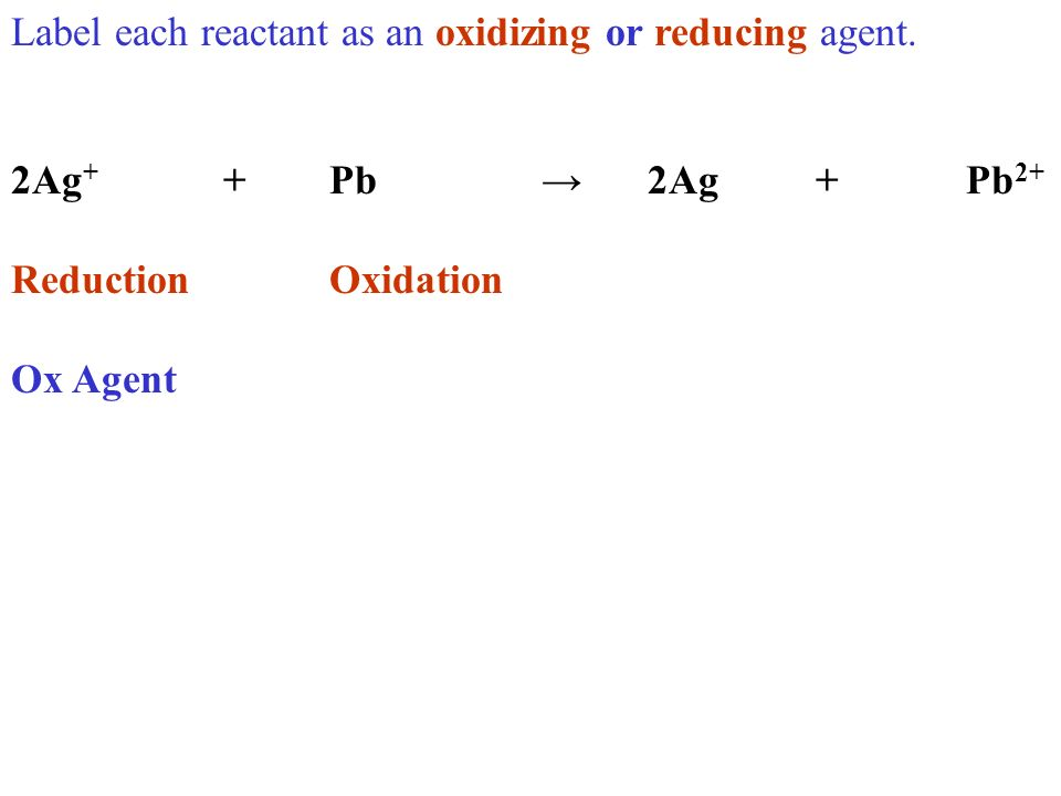Label each reactant as an oxidizing or reducing agent. 2Ag + +Pb2Ag +Pb 2+ ReductionOxidation Ox Agent